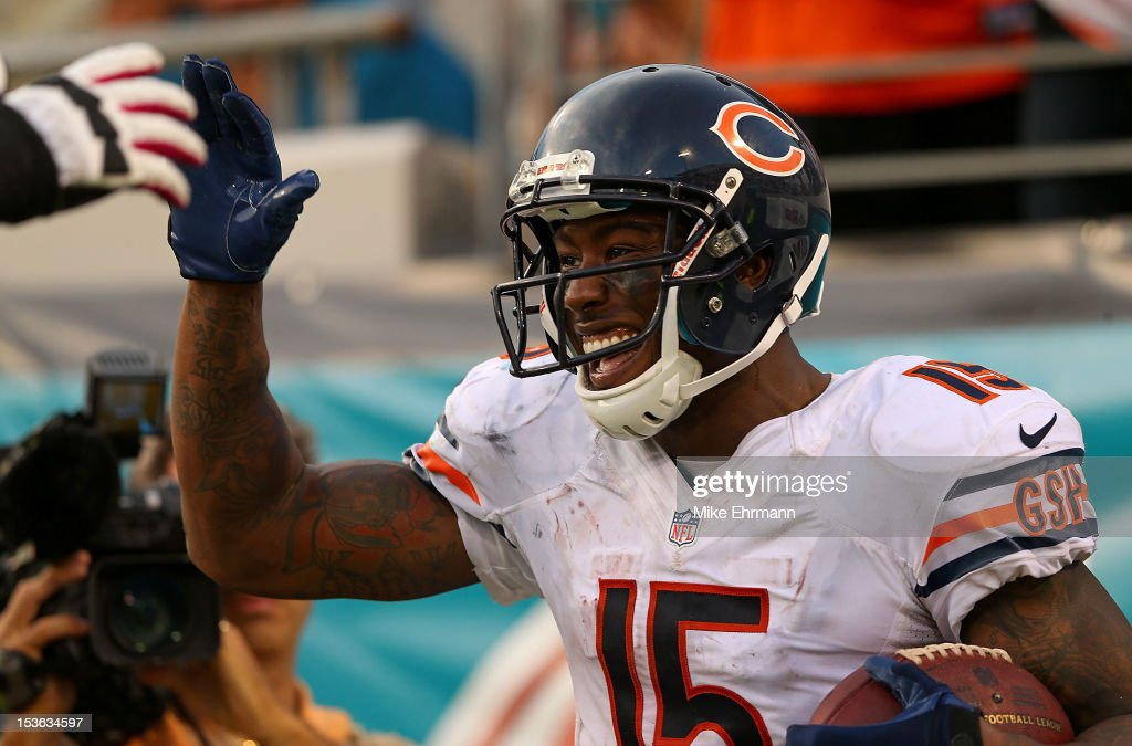 Brandon Marshall #15 of the Chicago Bears celebrates after scoring a touchdown during a game against the Jacksonville Jaguars at EverBank Field on October 7, 2012 in Jacksonville, Florida.