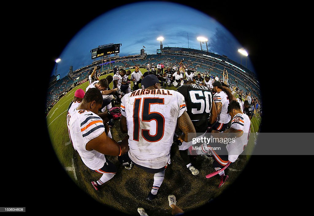 Brandon Marshall #15 of the Chicago Bears prays after a game against the Jacksonville Jaguars at EverBank Field on October 7, 2012 in Jacksonville, Florida.