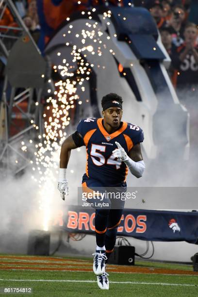 Brandon Marshall of the Denver Broncos in introduced to the game against the New York Giants The Denver Broncos hosted the New York Giants at Sports...
