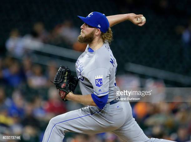 Brandon Maurer of the Kansas City Royals pitches against the Detroit Tigers during the ninth inning at Comerica Park on July 26 2017 in Detroit...