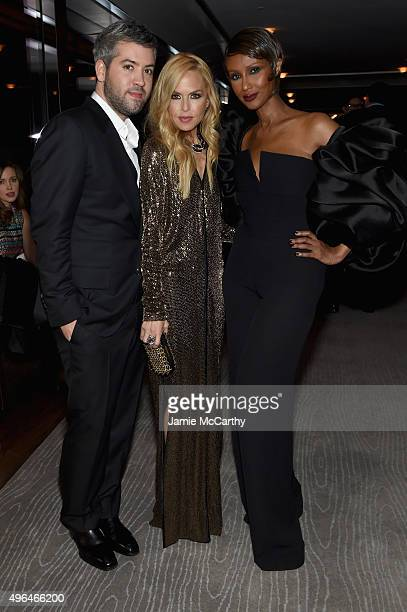 Brandon Maxwell Rachel Zoe and Iman attends the 2015 Glamour Women of The Year Awards dinner hosted by Cindi Leive at The Rainbow Room on November 9...