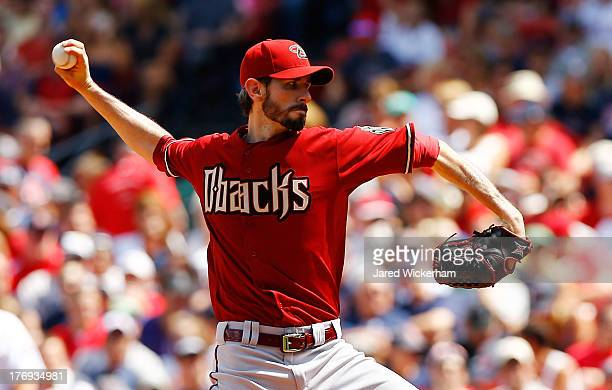 Brandon McCarthy of the Arizona Diamondbacks pitches against the Boston Red Sox during the game on August 4 2013 at Fenway Park in Boston...
