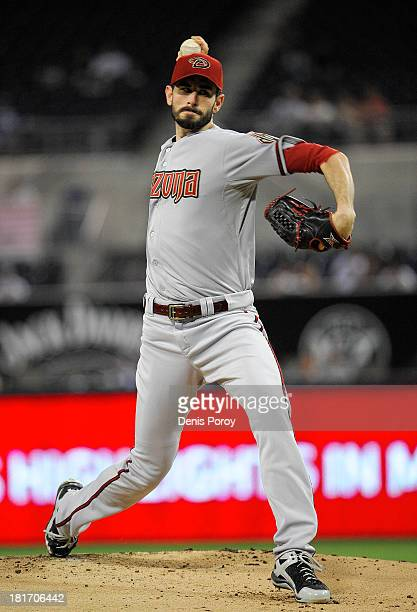 Brandon McCarthy of the Arizona Diamondbacks pitches during the first inning of a baseball game against the San Diego Padres at Petco Park on...