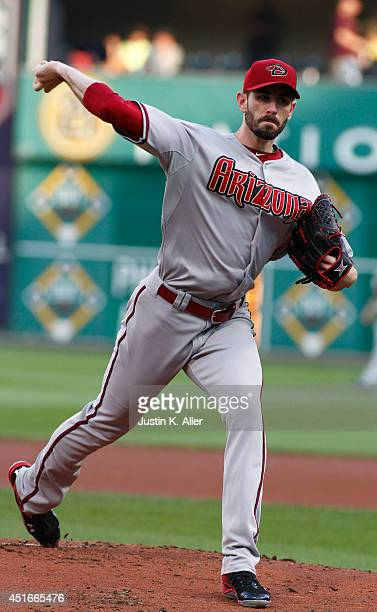 Brandon McCarthy of the Arizona Diamondbacks pitches in the first inning against the Pittsburgh Pirates during the game at PNC Park on July 3 2014 in...