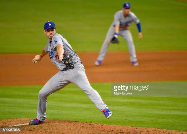 Brandon McCarthy of the Los Angeles Dodgers in action during the game between the Miami Marlins and the Los Angeles Dodgers at Marlins Park on July...