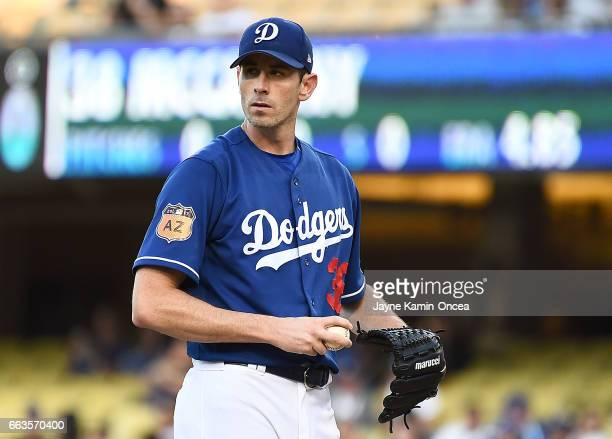 Brandon McCarthy of the Los Angeles Dodgers in the first inning of the exhibition game against the Los Angeles Angels of Anaheim at Dodger Stadium on...