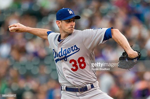 Brandon McCarthy of the Los Angeles Dodgers pitches against the Colorado Rockies in the first inning of a game at Coors Field on August 2 2016 in...