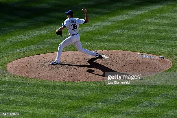 Brandon McCarthy of the Los Angeles Dodgers pitches against the San Diego Padres at Dodger Stadium on July 9 2016 in Los Angeles California
