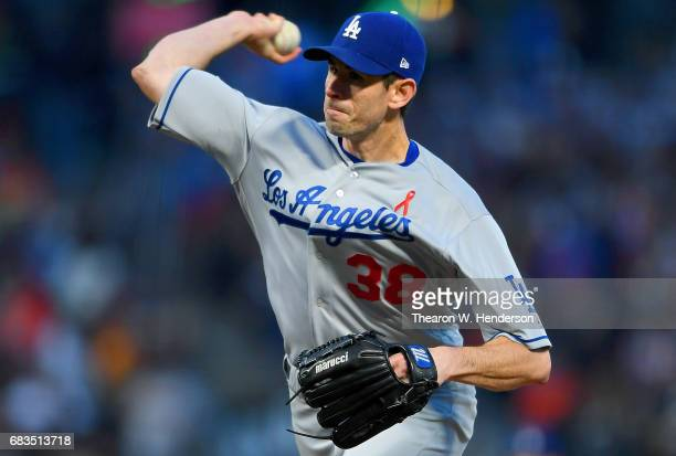 Brandon McCarthy of the Los Angeles Dodgers pitches against the San Francisco Giants in the bottom of the third inning at ATT Park on May 15 2017 in...