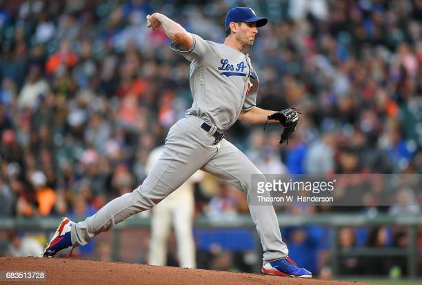 Brandon McCarthy of the Los Angeles Dodgers pitches against the San Francisco Giants in the bottom of the first inning at ATT Park on May 15 2017 in...