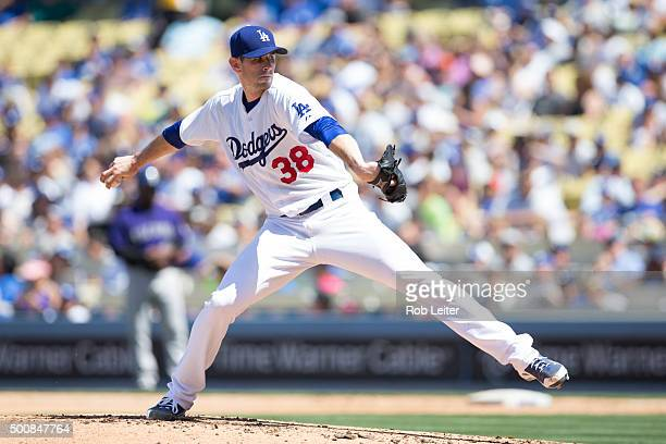 Brandon McCarthy of the Los Angeles Dodgers pitches during the game against the Colorado Rockies at Dodger Stadium on Sunday April 19 2015 in Los...