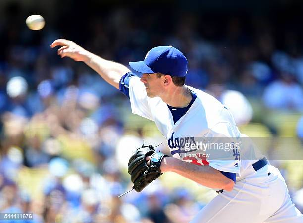 Brandon McCarthy of the Los Angeles Dodgers pitches to the Colorado Rockies during the fifth inning at Dodger Stadium on July 3 2016 in Los Angeles...