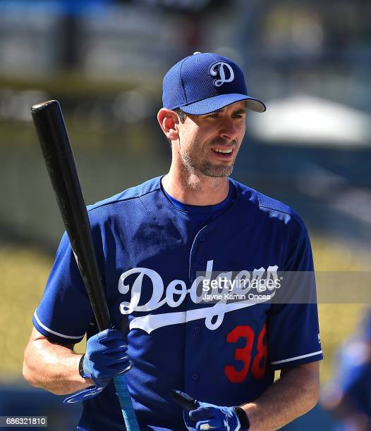 Brandon McCarthy of the Los Angeles Dodgers takes batting practice before the game against the Miami Marlins at Dodger Stadium on May 19 2017 in Los...