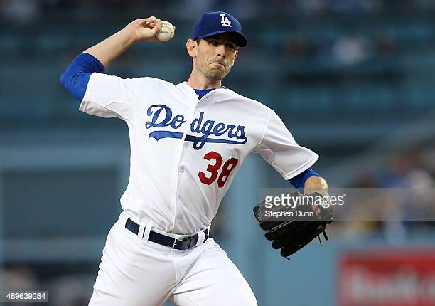 Brandon McCarthy of the Los Angeles Dodgers throws a pitch against the Seattle Mariners at Dodger Stadium on April 13 2015 in Los Angeles California
