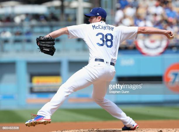 Brandon McCarthy of the Los Angeles Dodgers throws a pitch against the San Diego Padres in the second inning at Dodger Stadium on April 6 2017 in Los...
