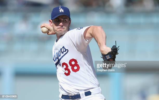 Brandon McCarthy of the Los Angeles Dodgers throws a pitch in the first inning against the Kansas City Royals at Dodger Stadium on July 8 2017 in Los...