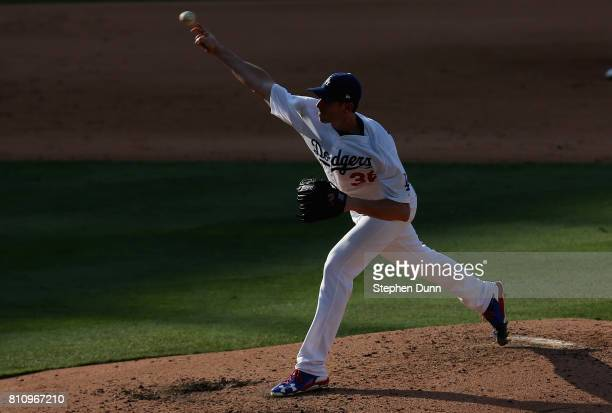 Brandon McCarthy of the Los Angeles Dodgers throws a pitch in the sixth inning against the Kansas City Royals at Dodger Stadium on July 8 2017 in Los...
