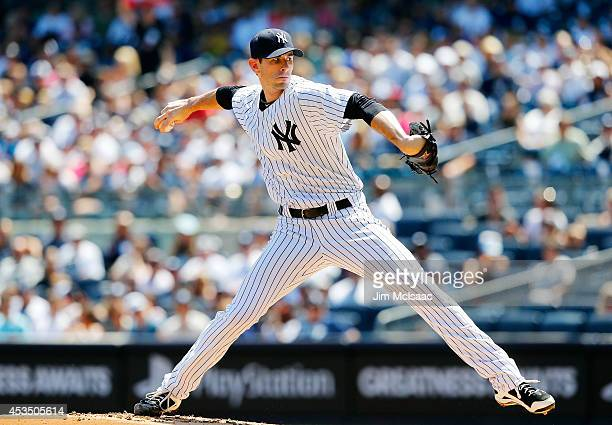 Brandon McCarthy of the New York Yankees in action against the Cleveland Indians at Yankee Stadium on August 9 2014 in the Bronx borough of New York...