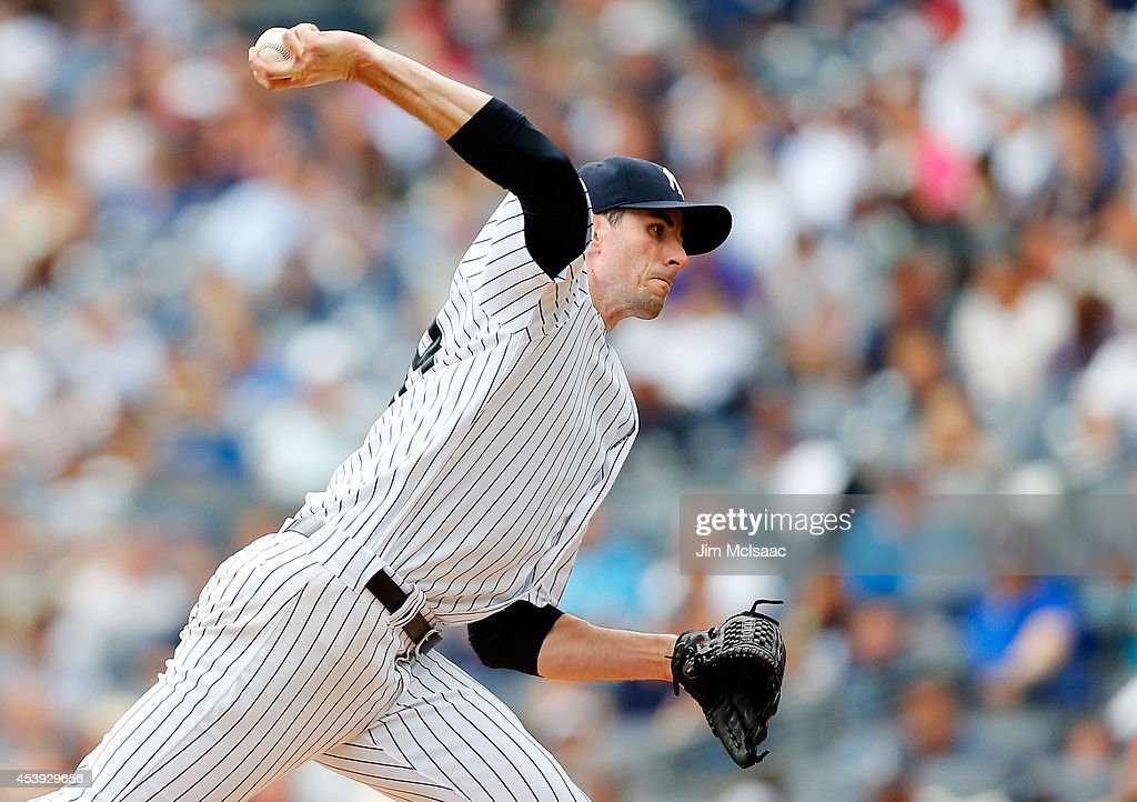 Brandon McCarthy #38 of the New York Yankees in action against the Houston Astros at Yankee Stadium on August 21, 2014 in the Bronx borough of New York City. The Yankees defeated the Astros 3-0.