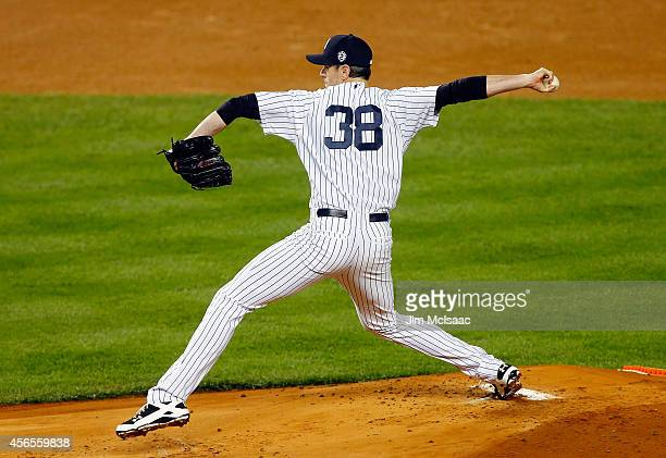 Brandon McCarthy of the New York Yankees in action against the Baltimore Orioles at Yankee Stadium on September 23 2014 in the Bronx borough of New...