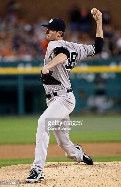 Brandon McCarthy of the New York Yankees pitches against the Detroit Tigers during the first inning at Comerica Park on August 26 2014 in Detroit...