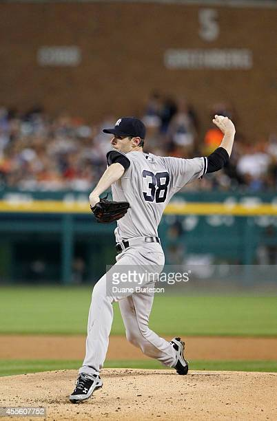 Brandon McCarthy of the New York Yankees pitches against the Detroit Tigers during a game at Comerica Park on August 26 2014 in Detroit Michigan