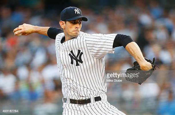 Brandon McCarthy of the New York Yankees pitches in the first inning against the Detroit Tigers at Yankee Stadium on August 4 2014 in the Bronx...
