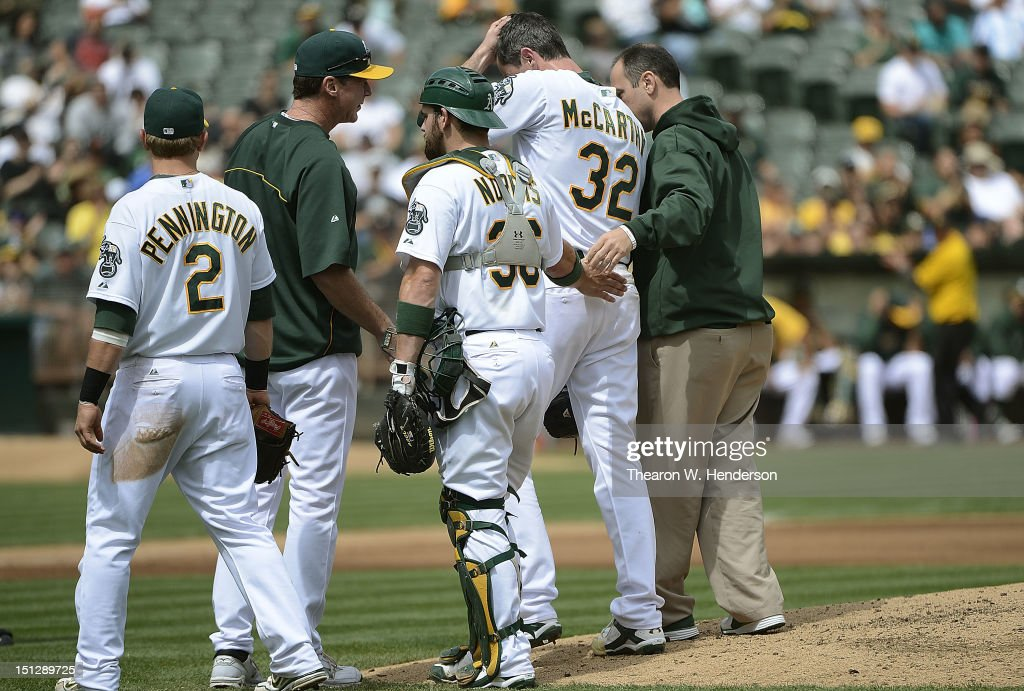 <a gi-track='captionPersonalityLinkClicked' href=/galleries/search?phrase=Brandon+McCarthy&family=editorial&specificpeople=224849 ng-click='$event.stopPropagation()'>Brandon McCarthy</a> #32 of the Oakland Athletics is taken out of the game by trainer Nick Paparesta (R) and manager <a gi-track='captionPersonalityLinkClicked' href=/galleries/search?phrase=Bob+Melvin&family=editorial&specificpeople=239192 ng-click='$event.stopPropagation()'>Bob Melvin</a> (2nd L) after McCarthy was hit in the head with a line drive off the bat of Erick Aybar #2 of the Los Angeles Angels of Anaheim in the fourth inning at O.co Coliseum on September 5, 2012 in Oakland, California. Cliff Pennington #2 and <a gi-track='captionPersonalityLinkClicked' href=/galleries/search?phrase=Derek+Norris&family=editorial&specificpeople=6795804 ng-click='$event.stopPropagation()'>Derek Norris</a> #36 look on.