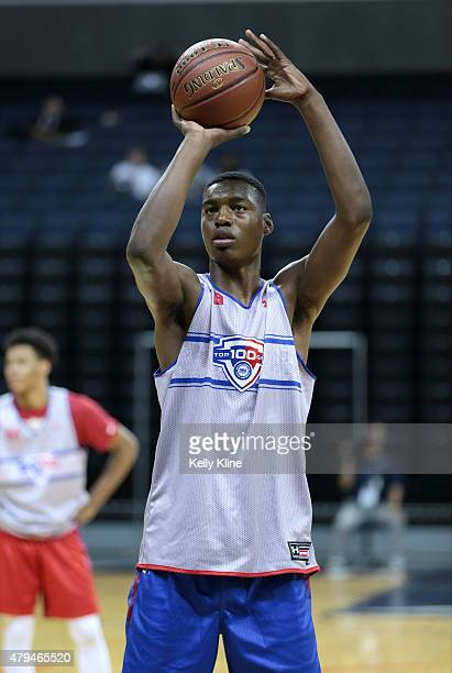 Brandon McCoy in white shoots a free throw during the NBPA Top 100 Camp on June 18 2015 at John Paul Jones Arena in Charlottesville Virginia