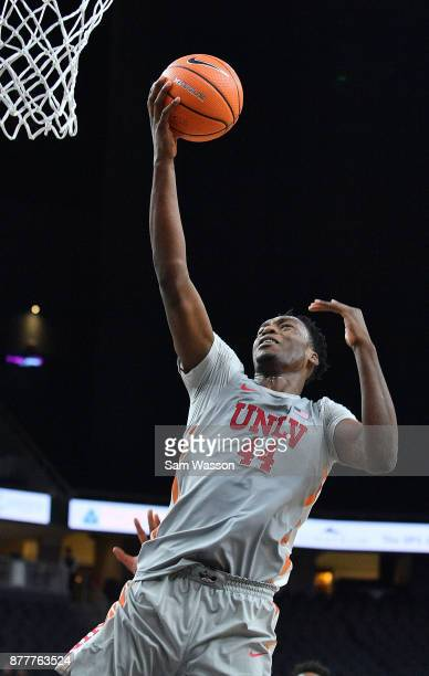 Brandon McCoy of the UNLV Rebels drives in for a layup against the Rice Owls during day one of the Main Event basketball tournament at TMobile Arena...