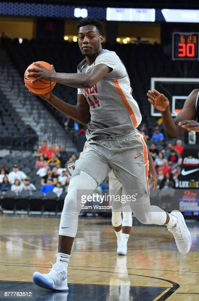 Brandon McCoy of the UNLV Rebels drives to the basket against the Rice Owls during day one of the Main Event basketball tournament at TMobile Arena...