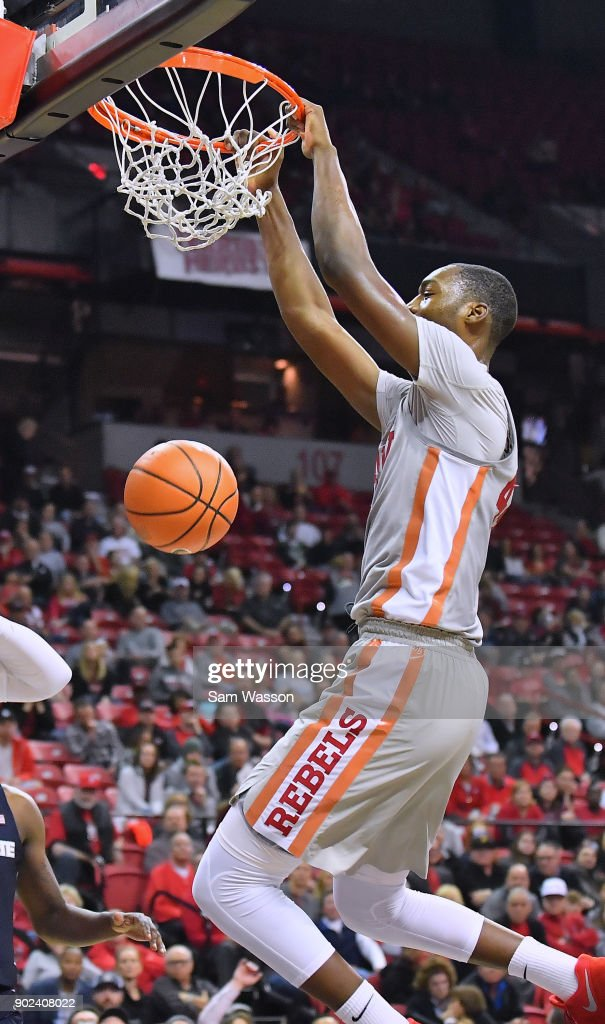 Brandon McCoy #44 of the UNLV Rebels dunks against the Utah State Aggies during their game at the Thomas & Mack Center on January 6, 2018 in Las Vegas, Nevada.
