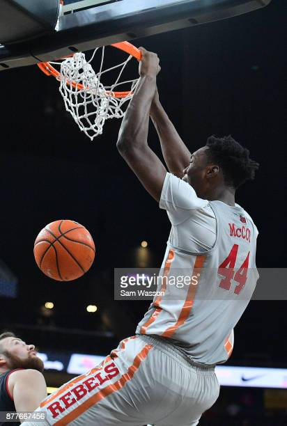 Brandon McCoy of the UNLV Rebels dunks against the Utah Utes during the championship game of the Main Event basketball tournament at TMobile Arena on...