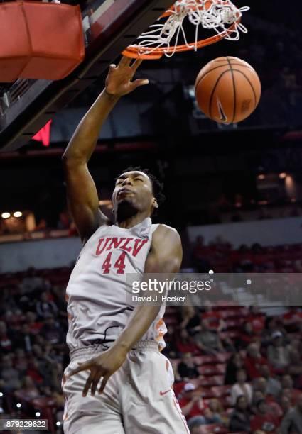 Brandon McCoy of the UNLV Rebels dunks the ball against the Southern Utah Thunderbirds at the Thomas Mack Center on November 25 2017 in Las Vegas...