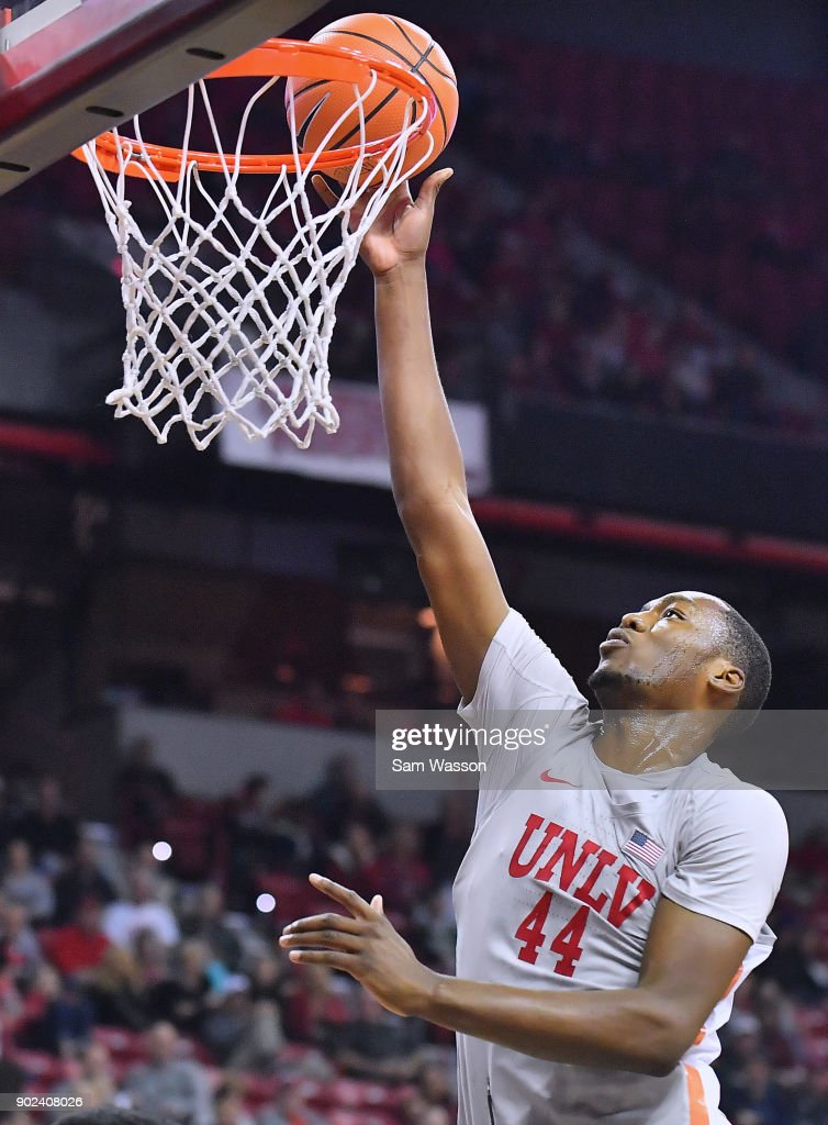 Brandon McCoy #44 of the UNLV Rebels gets a layup against the Utah State Aggies during their game at the Thomas & Mack Center on January 6, 2018 in Las Vegas, Nevada.