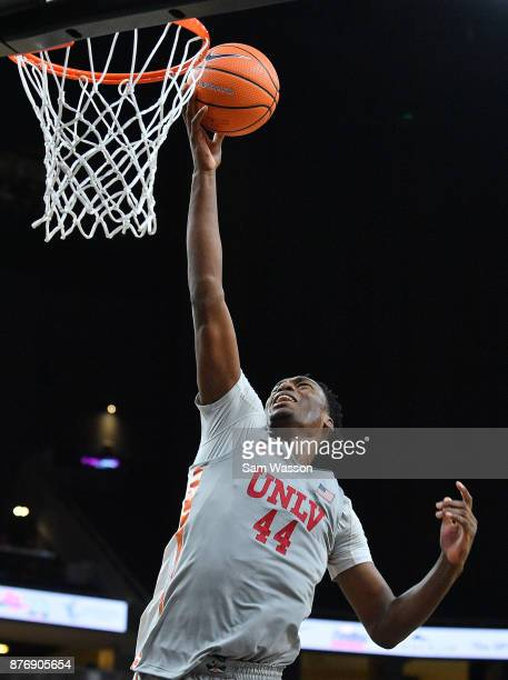 Brandon McCoy of the UNLV Rebels goes in for a layup during day one of the Main Event basketball tournament at TMobile Arena on November 20 2017 in...