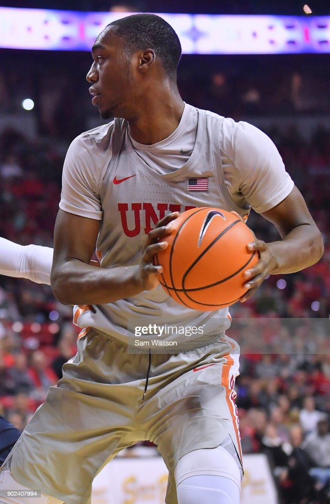 Brandon McCoy #44 of the UNLV Rebels posts up against the Utah State Aggies during their game at the Thomas & Mack Center on January 6, 2018 in Las Vegas, Nevada.