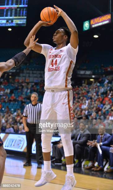 Brandon McCoy of the UNLV Rebels shoots against the Illinois Fighting Illini during their game at the MGM Grand Garden Arena on December 9 2017 in...