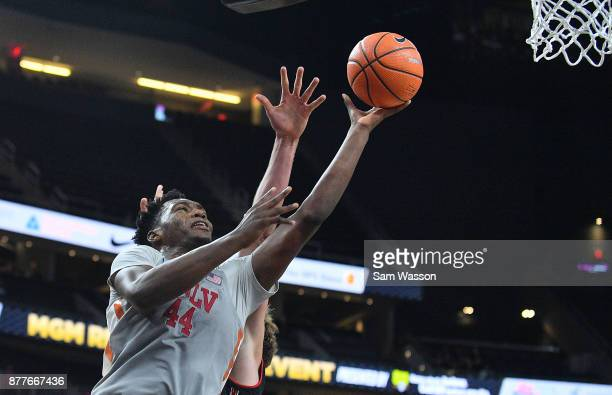 Brandon McCoy of the UNLV Rebels shoots against the Utah Utes during the championship game of the Main Event basketball tournament at TMobile Arena...