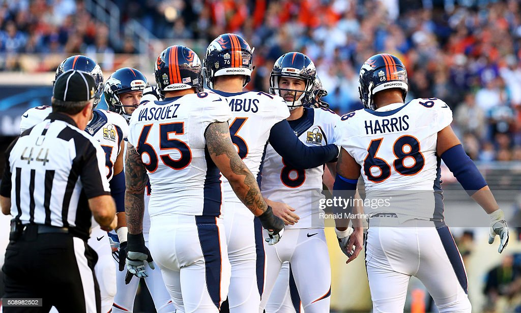 <a gi-track='captionPersonalityLinkClicked' href=/galleries/search?phrase=Brandon+McManus&family=editorial&specificpeople=6315600 ng-click='$event.stopPropagation()'>Brandon McManus</a> #8 of the Denver Broncos celebrates with his team after kicking a first quarter field goal against the Carolina Panthers during Super Bowl 50 at Levi's Stadium on February 7, 2016 in Santa Clara, California.