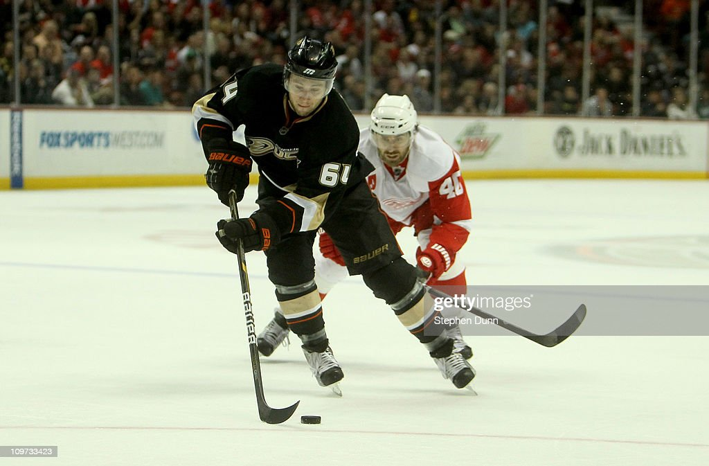 Brandon McMillan #64 of the Anaheim Ducks cxarries the puck in front of Henrik Zetterberg #40 of the Detroit Red Wings on March 2, 2011 at the Honda Center in Anaheim, California. The Ducks won 2-1 in overtime.