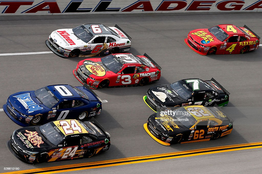 Brandon McReynolds, driver of the #24 Redneck Riviera/JGL Young Guns Toyota, leads a pack of cars during the NASCAR XFINITY Series Sparks Energy 300 at Talladega Superspeedway on April 30, 2016 in Talladega, Alabama.