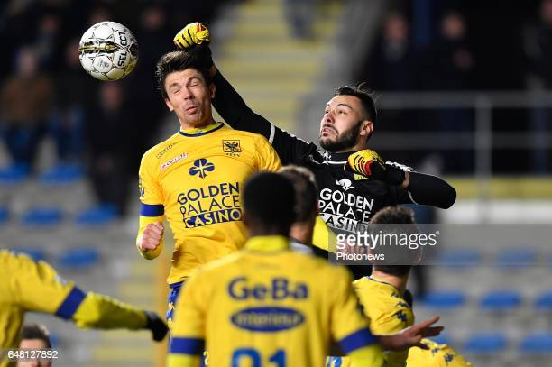 Brandon Mechele of STVV and Lucas Pirard of STVV during the Jupiler Pro League match between STVV and KAS Eupen at the Stayen on march 04 2017 in...