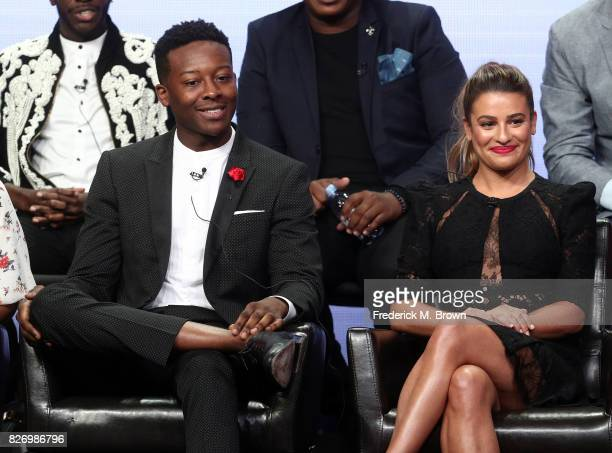 Brandon Micheal Hall and Lea Michele from 'The Mayor' speak onstage during the Disney/ABC Television Group portion of the 2017 Summer Television...