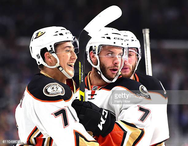 Brandon Montour of the Anaheim Ducks celebrates his goal with Joseph Cramarossa to trail 51 to the Los Angeles Kings during a preseason game at...