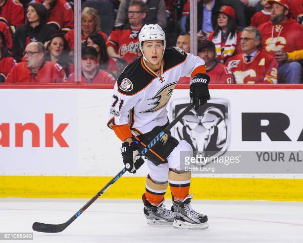Brandon Montour of the Anaheim Ducks in action against the Calgary Flames in Game Three of the Western Conference First Round during the 2017 NHL...