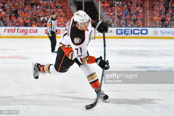 Brandon Montour of the Anaheim Ducks shoots the puck in Game Four of the Western Conference Second Round during the 2017 NHL Stanley Cup Playoffs...