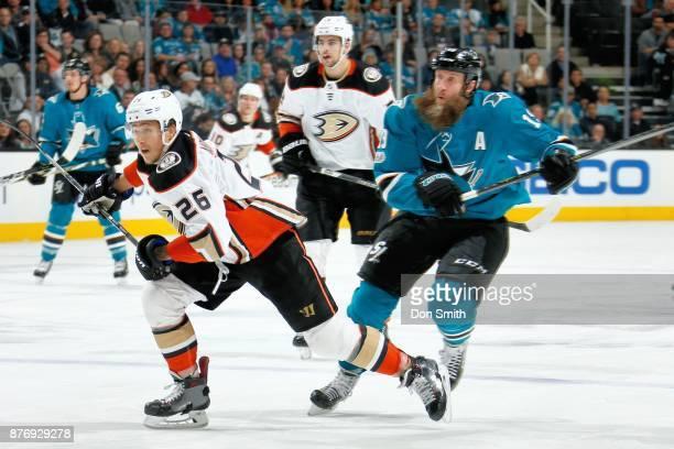 Brandon Montour of the Anaheim Ducks skates against Joe Thornton of the San Jose Sharks at SAP Center on November 20 2017 in San Jose California