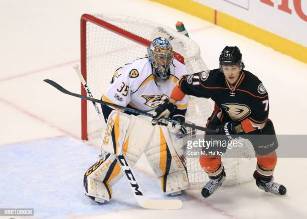 Brandon Montour of the Anaheim Ducks skates by goaltender Pekka Rinne of the Nashville Predators in the first period of Game Five of the Western...
