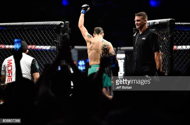 Brandon Moreno of Mexico enters the Octagon before facing Sergio Pettis in their flyweight bout during the UFC Fight Night event at Arena Ciudad de...